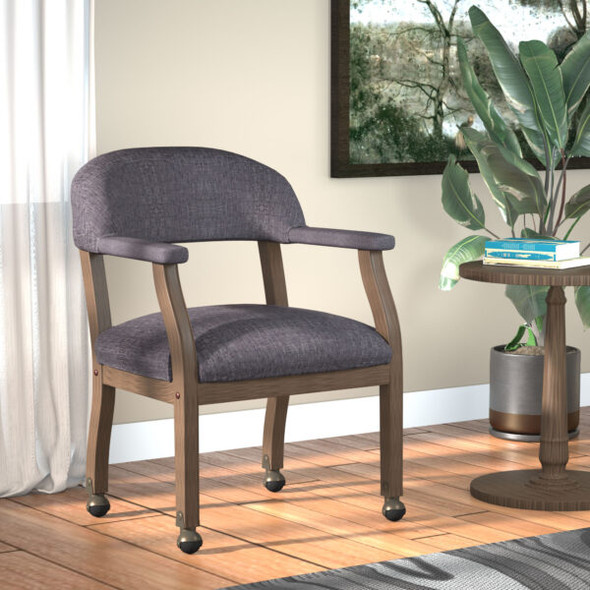 Boss Modern Captain's guest, accent or dining chair in Slate Grade Commercial Grade Linen With Casters