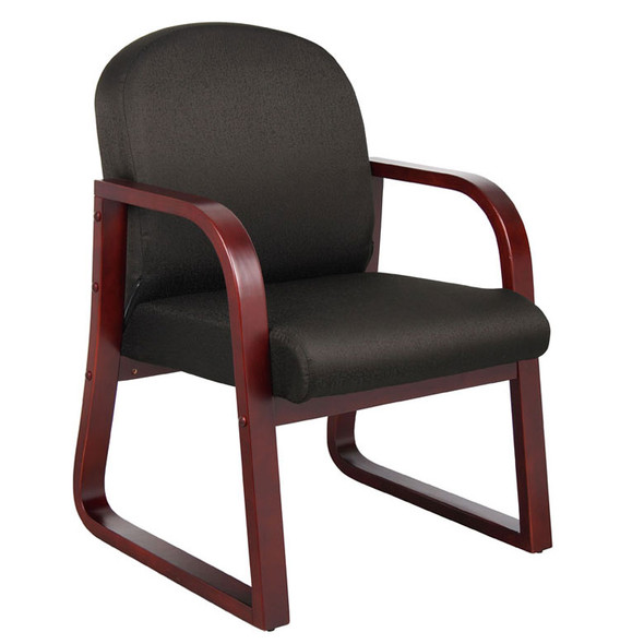 Boss Mahogany Frame guest, accent or dining chair In Black Fabric