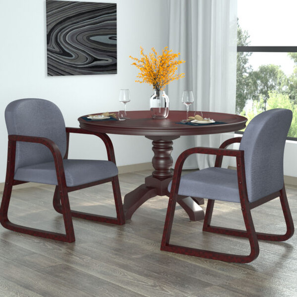 Boss Mahogany Frame guest, accent or dining chair in Grey Fabric