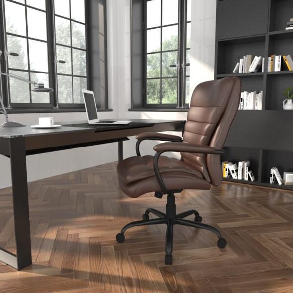 Boss Heavy Duty Double Plush LeatherPlus Chair - 400 Lbs.