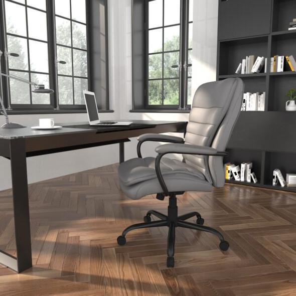 Boss Heavy Duty Double Plush CaressoftPlus Chair - 400 Lbs. Grey