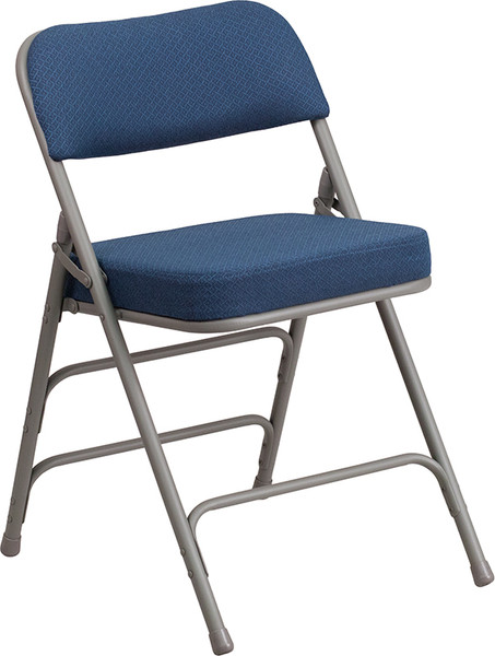 TYCOON Series Premium Curved Triple Braced & Double Hinged Navy Fabric Metal Folding Chair