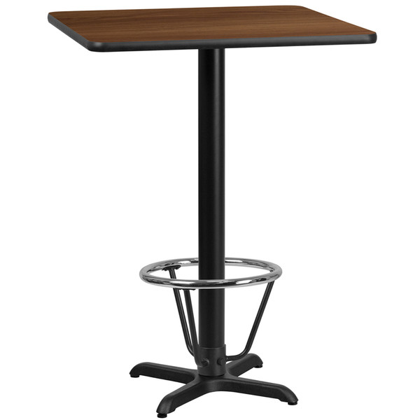 24'' Square Walnut Laminate Table Top with 22'' x 22'' Bar Height Table Base and Foot Ring