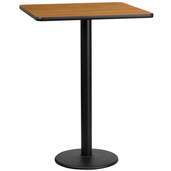 24'' Square Natural Laminate Table Top with 18'' Round Bar Height Table Base