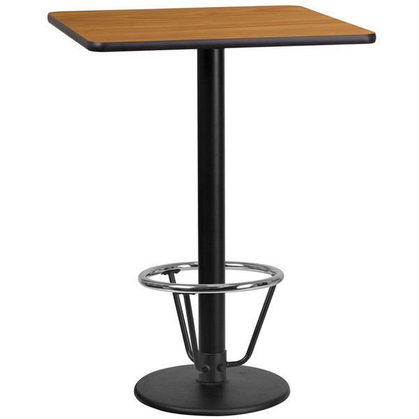 24'' Square Natural Laminate Table Top with 18'' Round Bar Height Table Base and Foot Ring