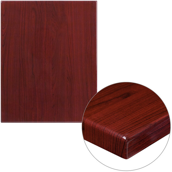 "24"" x 30"" Rectangular High-Gloss Mahogany Resin Table Top with 2"" Thick Edge"
