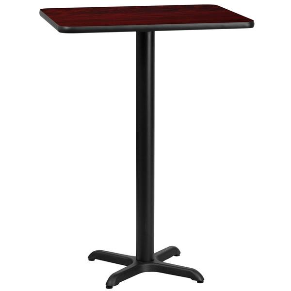 24'' x 30'' Rectangular Mahogany Laminate Table Top with 22'' x 22'' Bar Height Table Base