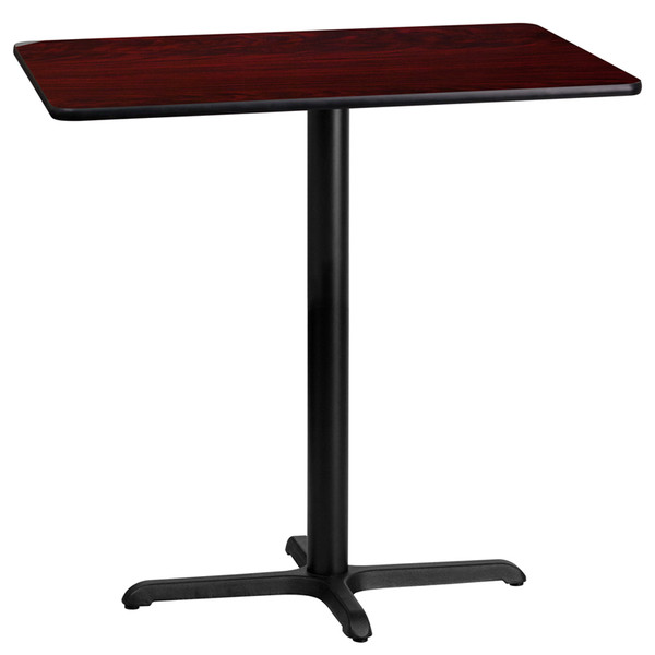 24'' x 42'' Rectangular Mahogany Laminate Table Top with 22'' x 30'' Bar Height Table Base