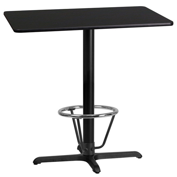 24'' x 42'' Rectangular Black Laminate Table Top with 22'' x 30'' Bar Height Table Base and Foot Ring