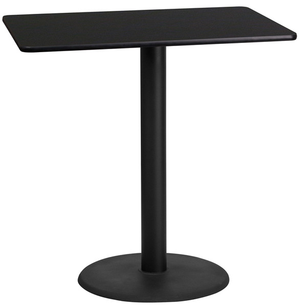 24'' x 42'' Rectangular Black Laminate Table Top with 24'' Round Bar Height Table Base