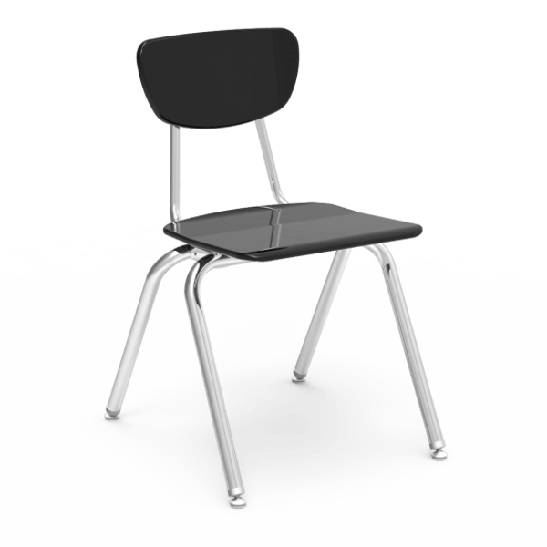 "3000 Series 18"" Classroom Chair, Black Seat and Back, Chrome Frame, 5th Grade - Adult - Set of 4 Chairs"