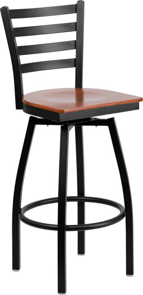 TYCOON Series Black Ladder Back Swivel Metal Barstool - Cherry Wood Seat