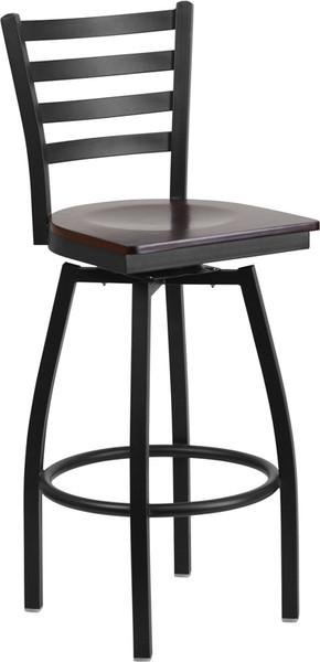 TYCOON Series Black Ladder Back Swivel Metal Barstool - Walnut Wood Seat