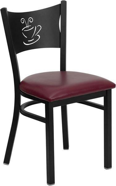 TYCOON Series Black Coffee Back Metal Restaurant Chair - Burgundy Vinyl Seat