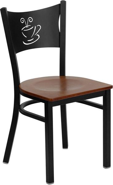 TYCOON Series Black Coffee Back Metal Restaurant Chair - Cherry Wood Seat