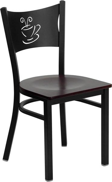 TYCOON Series Black Coffee Back Metal Restaurant Chair - Mahogany Wood Seat