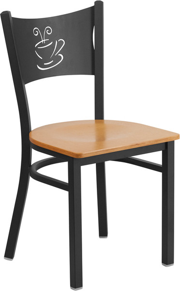 TYCOON Series Black Coffee Back Metal Restaurant Chair - Natural Wood Seat