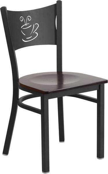 TYCOON Series Black Coffee Back Metal Restaurant Chair - Walnut Wood Seat