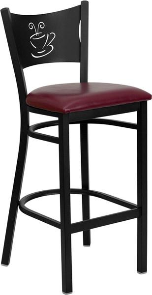 TYCOON Series Black Coffee Back Metal Restaurant Barstool - Burgundy Vinyl Seat