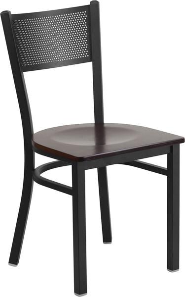 TYCOON Series Black Grid Back Metal Restaurant Chair - Walnut Wood Seat