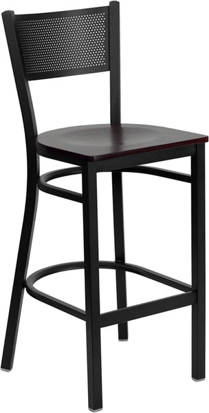 TYCOON Series Black Grid Back Metal Restaurant Barstool - Mahogany Wood Seat