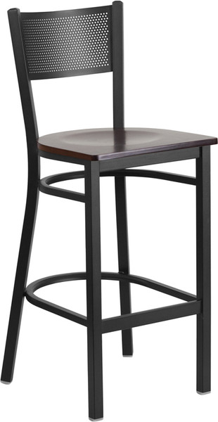 TYCOON Series Black Grid Back Metal Restaurant Barstool - Walnut Wood Seat