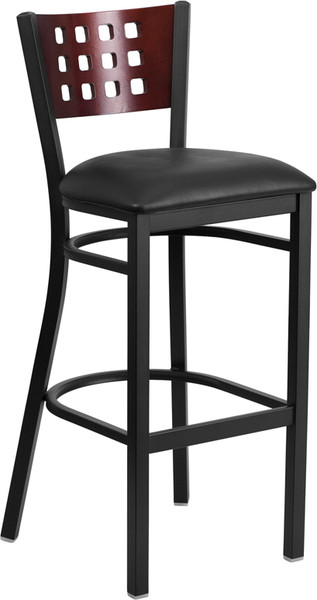 TYCOON Series Black Cutout Back Metal Restaurant Barstool - Mahogany Wood Back, Black Vinyl Seat