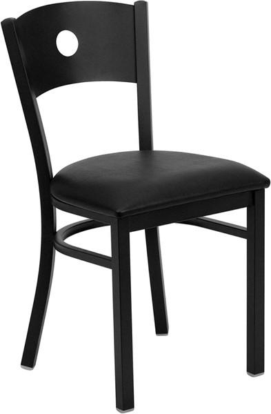 TYCOON Series Black Circle Back Metal Restaurant Chair - Black Vinyl Seat