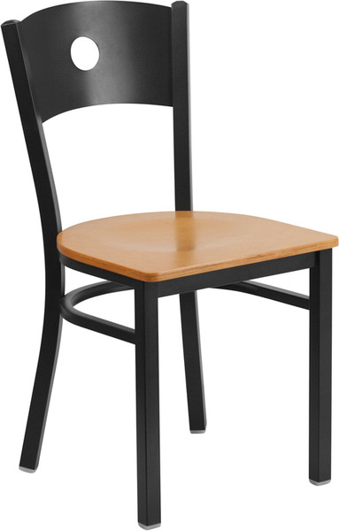 TYCOON Series Black Circle Back Metal Restaurant Chair - Natural Wood Seat