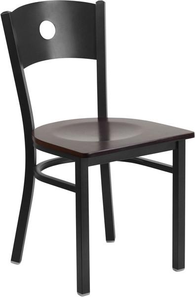 TYCOON Series Black Circle Back Metal Restaurant Chair - Walnut Wood Seat