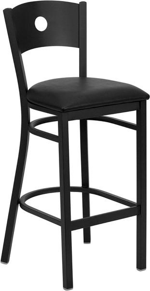TYCOON Series Black Circle Back Metal Restaurant Barstool - Black Vinyl Seat