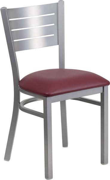 TYCOON Series Silver Slat Back Metal Restaurant Chair - Burgundy Vinyl Seat