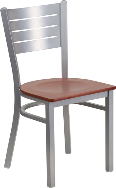 TYCOON Series Silver Slat Back Metal Restaurant Chair - Cherry Wood Seat