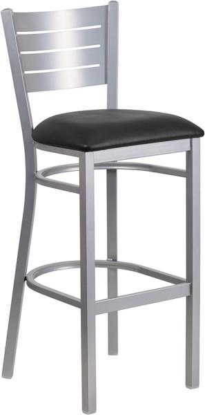 TYCOON Series Silver Slat Back Metal Restaurant Barstool - Black Vinyl Seat