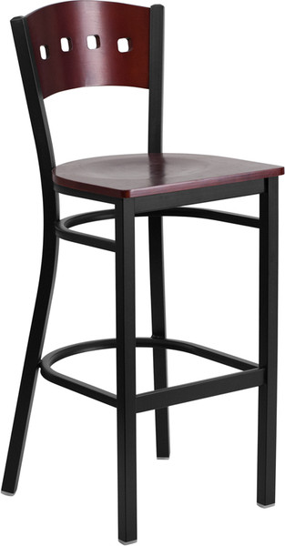 TYCOON Series Black 4 Square Back Metal Restaurant Barstool - Mahogany Wood Back & Seat