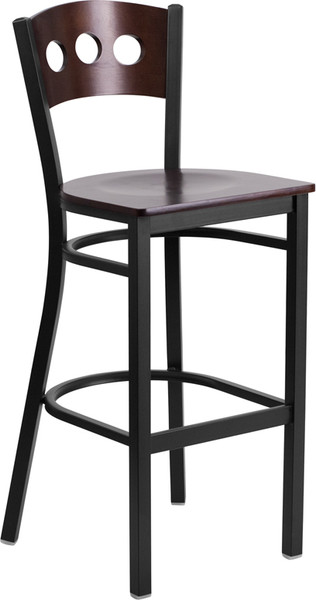 TYCOON Series Black 3 Circle Back Metal Restaurant Barstool - Walnut Wood Back & Seat