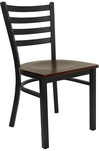 TYCOON Series Black Ladder Back Metal Restaurant Chair - Mahogany Wood Seat