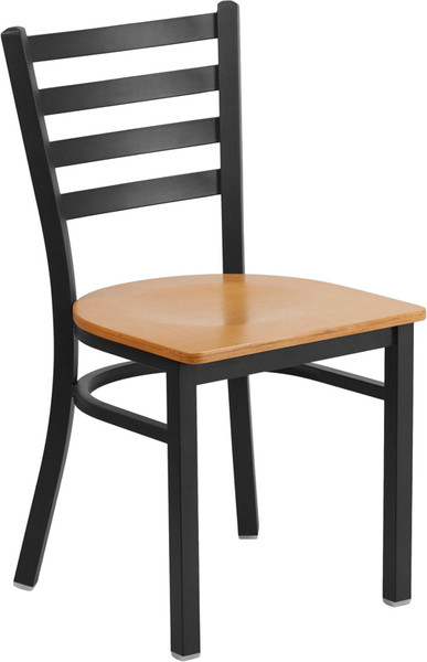 TYCOON Series Black Ladder Back Metal Restaurant Chair - Natural Wood Seat