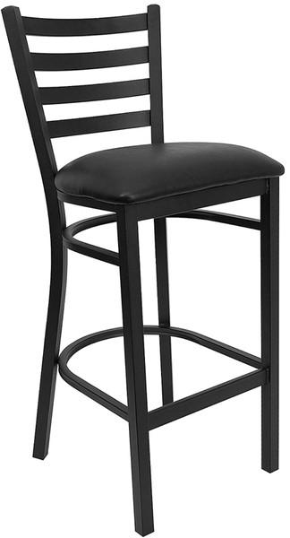 TYCOON Series Black Ladder Back Metal Restaurant Barstool - Black Vinyl Seat