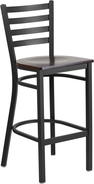 TYCOON Series Black Ladder Back Metal Restaurant Barstool - Walnut Wood Seat