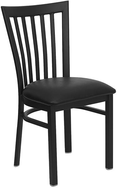 TYCOON Series Black School House Back Metal Restaurant Chair - Black Vinyl Seat
