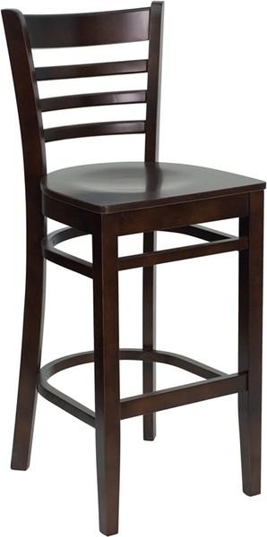TYCOON Series Ladder Back Walnut Wood Restaurant Barstool
