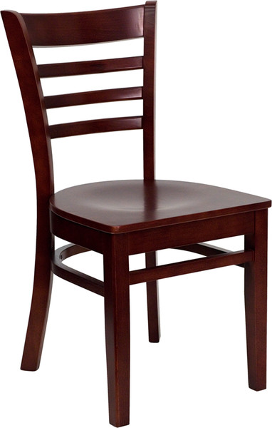 TYCOON Series Ladder Back Mahogany Wood Restaurant Chair