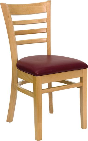 TYCOON Series Ladder Back Natural Wood Restaurant Chair - Burgundy Vinyl Seat