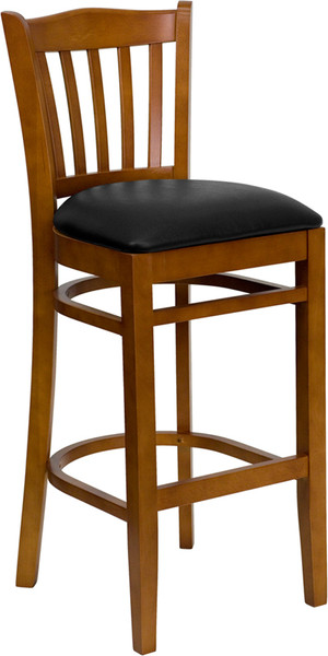 TYCOON Series Vertical Slat Back Cherry Wood Restaurant Barstool - Black Vinyl Seat