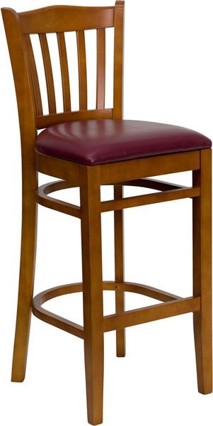 TYCOON Series Vertical Slat Back Cherry Wood Restaurant Barstool - Burgundy Vinyl Seat