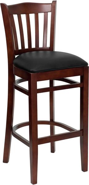 TYCOON Series Vertical Slat Back Mahogany Wood Restaurant Barstool - Black Vinyl Seat