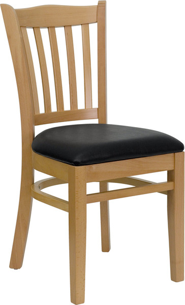 TYCOON Series Vertical Slat Back Natural Wood Restaurant Chair - Black Vinyl Seat