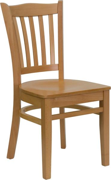 TYCOON Series Vertical Slat Back Natural Wood Restaurant Chair