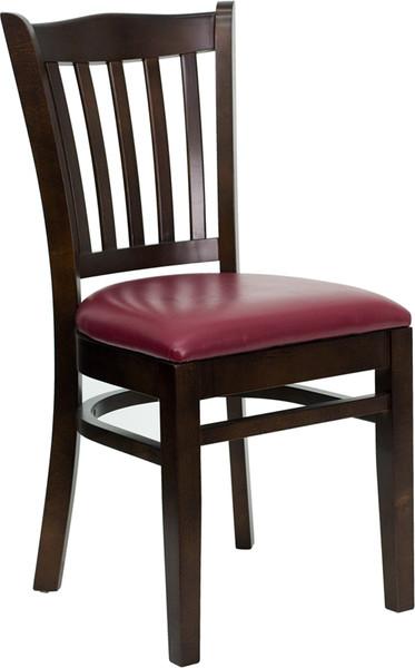 TYCOON Series Vertical Slat Back Walnut Wood Restaurant Chair - Burgundy Vinyl Seat